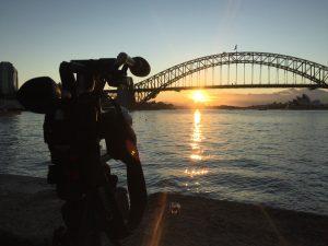 Paul Devitt filming at Sydney Harbour