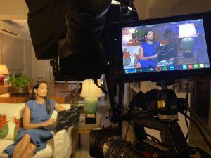 Paul Devitt filming on set for CNN